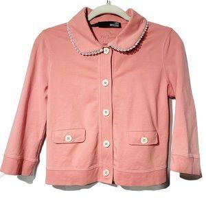 MOSCHINO Women's Peter Pan Collar Blazer 6 Pink
